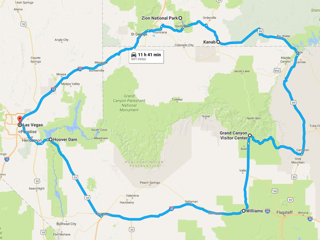 Route for Visiting Zion National Park from Las Vegas