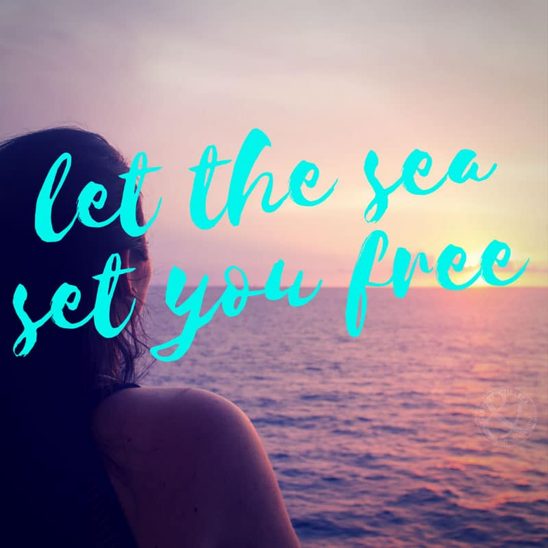 Let the Sea Set You Free Motivational Ocean Sea Sunset Quote